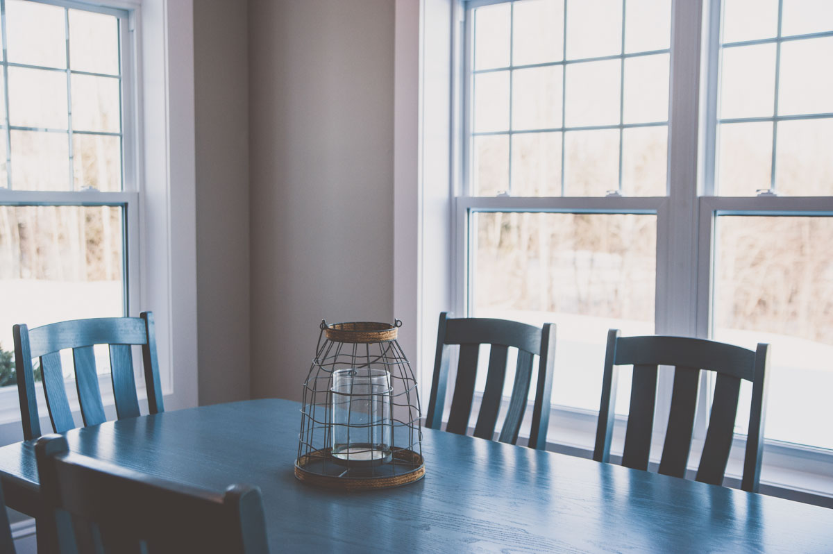Bright dining room in Summerfield custom home construction